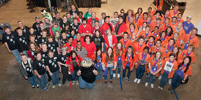 Members of the three NASA Dryden-supported high school robotics teams