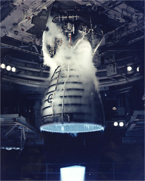 Space Shuttle main engines test firing