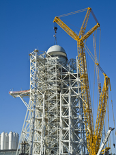 A-3 Test Stand 'Tops Out' with Test Cell Dome Installation
