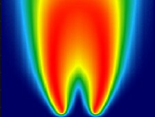 Measured and computed temperature profiles of coflow laminar diffusion flames