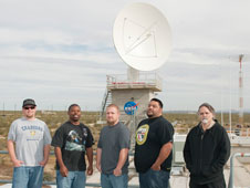 The Western Aeronautical Test Range communications and flight termination system group recently acquired and installed a replacement for the Comm 3 satellite dish. From left are Jon Batchelor, Kevin Bryant, Justin Thomas, Jovany Bautista and Mike Yettaw.