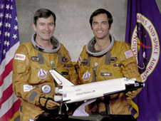 Columbia commander John Young, left and pilot Bob Crippen are pictured prior to the STS-1 mission. As with most of the early shuttle missions, STS-1 concluded with a landing on Rogers Dry Lake.