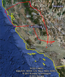 The DC-8's flight track is shown in red from its flight on Wednesday May 4, 2011 over various portions of California.