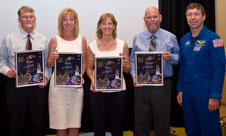 Richard Dykstra, Judy Grizzard, Lori Losey and Richard Batchelor (from left) are four of the seven NASA Dryden employees who were honored recently with Space Flight Awareness awards presented by NASA astronaut Mike Barratt,