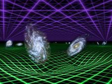 In this artist's conception, dark energy is represented by the purple grid above, and gravity by the green grid below