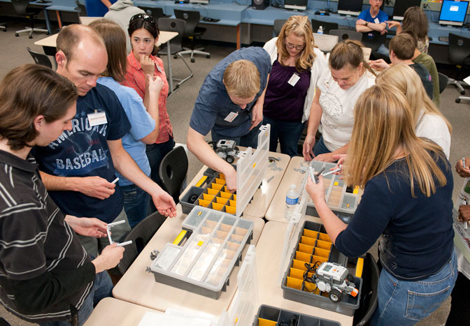 The parts boxes were points of intense interest as educators and youth leaders attending the Lego League Robotics workshop searched for the perfect parts to build their robots