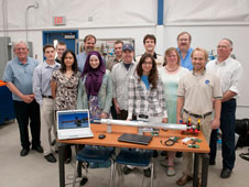 Dryden and CSU-Fresno agreed that students would design a test stand and a major component during the semester. First row, from left, are Ronalynn Ramos, Shiamaa Aboutaleb, Robert Bernstein, Deleena Noble, Jeigh Shelley and Jonathan Barraclough. Second row, from left, are Ken Santarelli, Edgar Felix