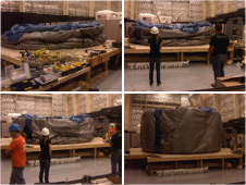 The OSU loft is inflated on a ground deployment platform to prepare for installation on the Habitat Demonstration Unit (HDU). Photos credit: NASA
