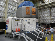 The OSU loft's first and second floors are inflated. Photo credit: NASA