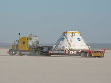 As a result of changes made at the main gates to Edwards Air Force Base, the route by which the PA-1 crew module traveled was across Rogers Dry Lake, through the shuttle viewing area and out Rocket Site Road.