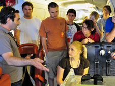 SARP participants learn about the MODIS/ASTER airborne simulator, or MASTER, instrument they will use to collect remote sensing data during the DC-8 flights.