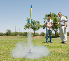 A student's rocket lifts off