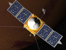 Mars looms red-brown behind MAVEN in this artists concept