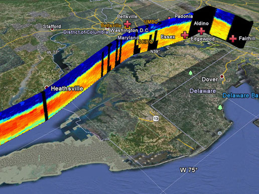 A data profile image from the High Spectral Resolution Lidar (HSRL) aboard NASA Langley's UC-12 research aircraft showing wildfire smoke that has drifted over the Chesapeake Bay.
