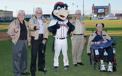 Lancaster Jethawks mascot Kaboom joins retired NASA astronauts and test pilots.