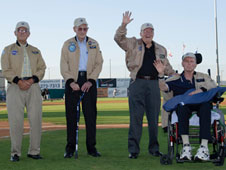 The first crews of the space shuttle prototype Enterprise and the NASA 747 that carried it to altitude for test were recognized at the JetHawks' Aerospace Appreciation Night Aug. 13.