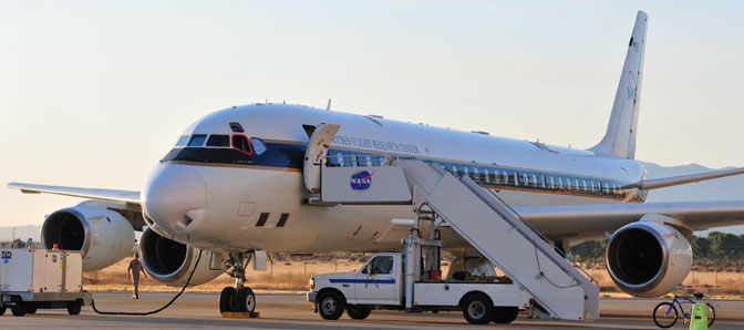 NASA's DC-8 is prepared for an early morning evaluation flight of the Methane Sounder Instrument on August 24, 2011.