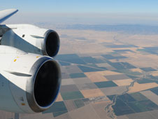 NASA's DC-8 flies over California's San Joaquin Valley during evaluation of a methane sounder instrument.
