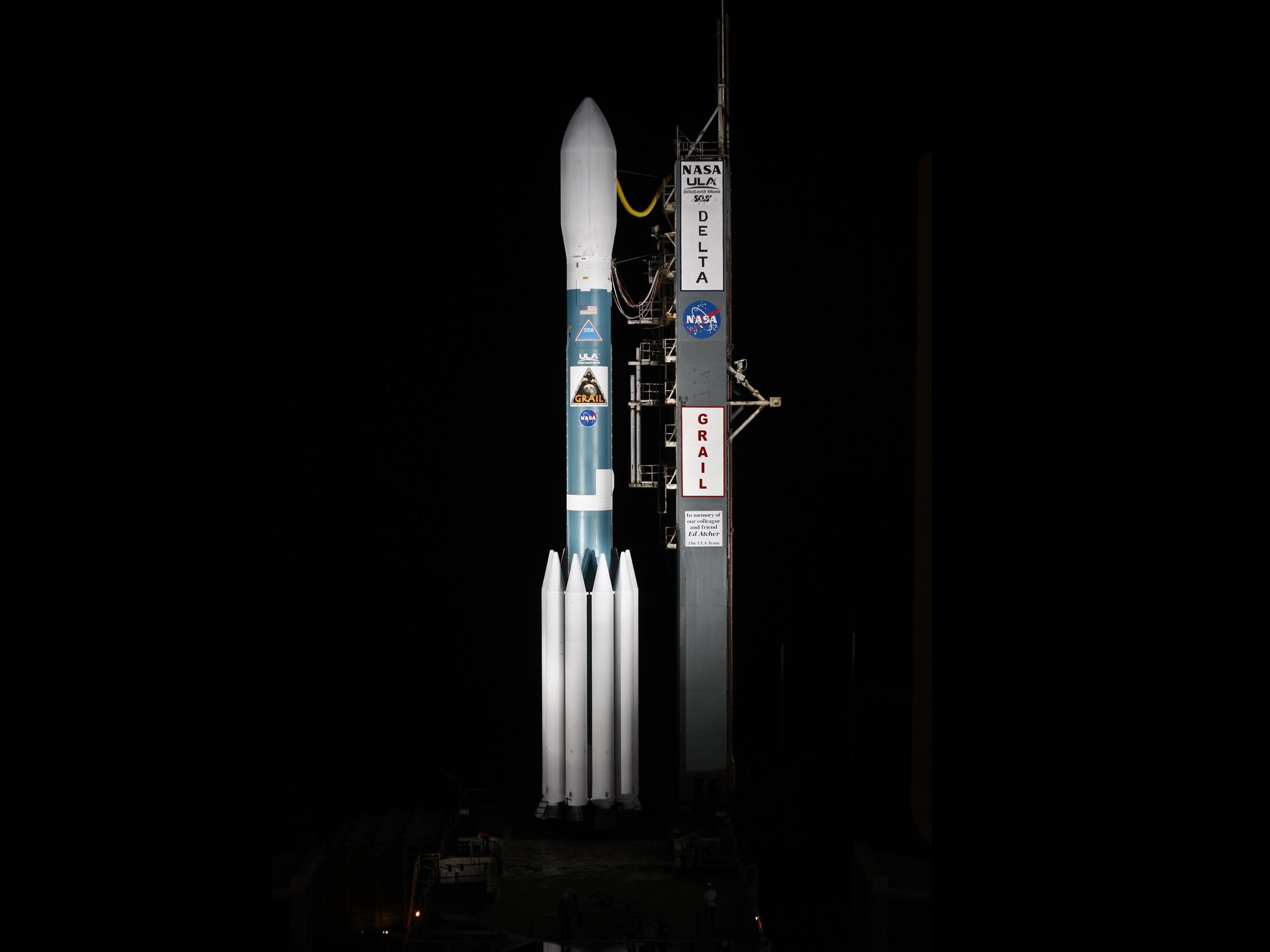 GRAIL on the Pad | NASA: http://www.nasa.gov/mission_pages/grail/multimedia/rollbackBaur.html