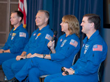 STS-135 crewmembers Chris Ferguson (commander), Doug Hurley, Sandy Magnus and Rex Walheim share their experiences of the final shuttle mission with a Dryden audience.