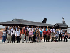photo of students in front of SR-71 who participated in summer of 2011 programs at Dryden.