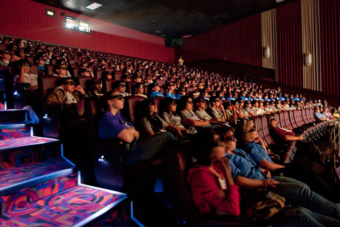 Some 300 middle-school students, teachers and guests got a three-dimensional view of the cosmos and life on the International Space Station at the IMAX documentary showings.