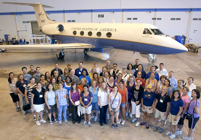 Participants in the 2011 Airborne Research Experiences for Educators program and their mentors gathered in front of NASA's synthetic aperture radar-equipped Gulfstream-III research aircraft during a tour of NASA's Dryden Aircraft Operations Facility.