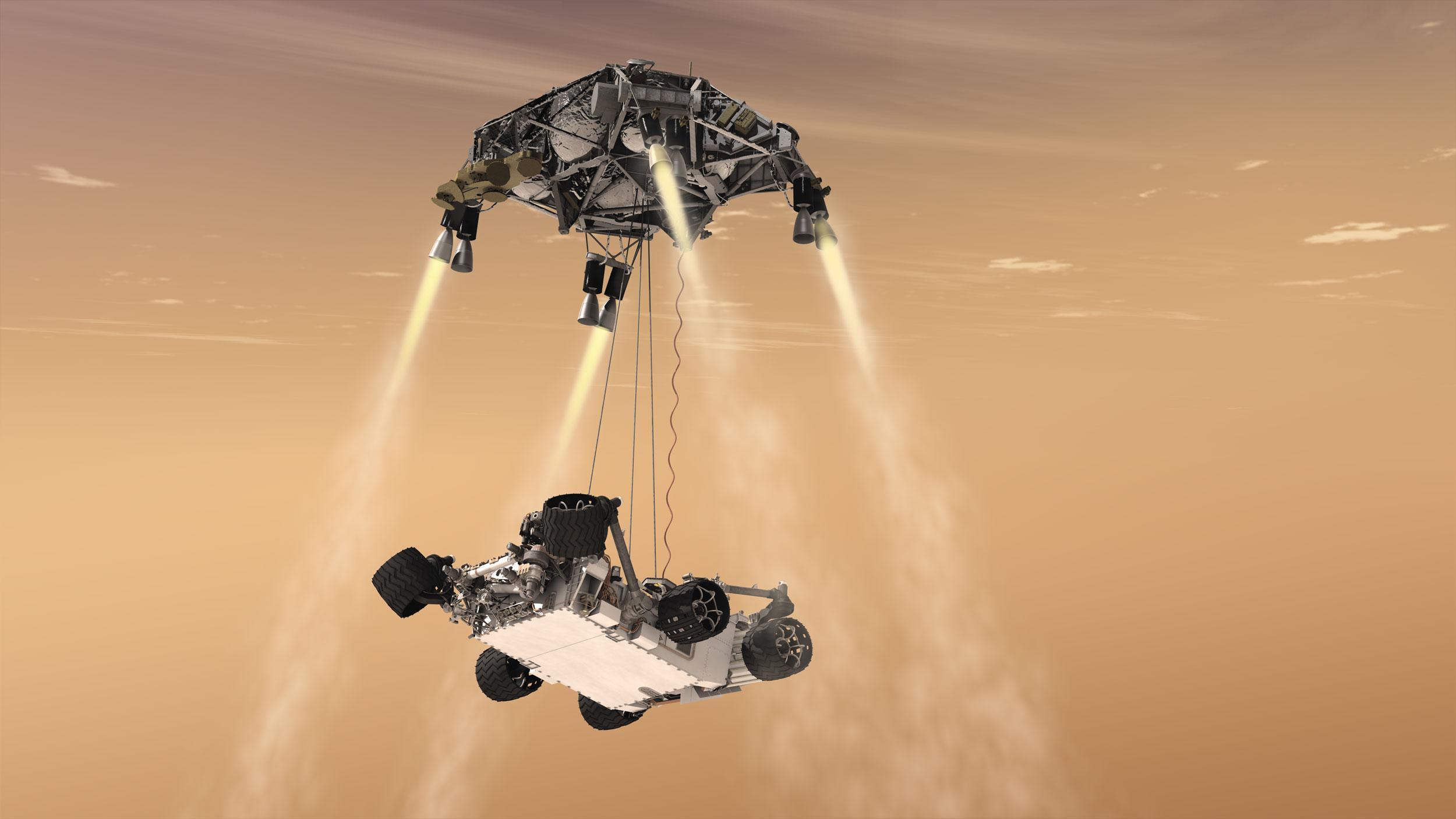 Curiosity's Sky Crane Maneuver, Artist's Concept | NASA
