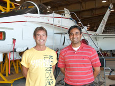 Dryden researcher Marty Brenner, left, and Tao Systems president Arun Mangalam worked together to research advanced technology using a Dryden F-15B. They hope to see development of their ideas continue with the F/A-18 research aircraft pictured at left.