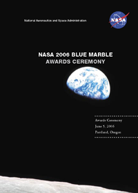 Cover of the 2006 Blue Marble Awards Program, depicting the Earth as seen from the Moon