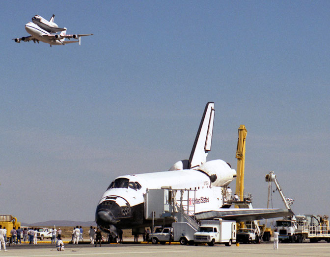 Endeavour had just landed to conclude STS-68, while Columbia was perched on a NASA 747 from Kennedy Space Center, Fla., on its way to Palmdale, Calif., for major modification and maintenance work.
