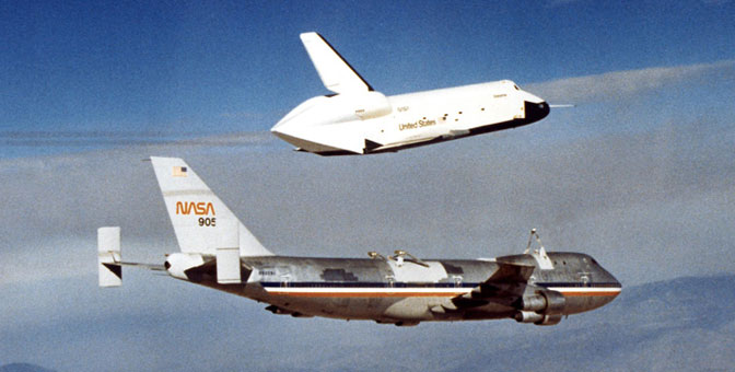 The first of Enterprise's five free flights from the NASA 747 Shuttle Carrier Aircraft at Dryden in 1977 were part of the shuttle program approach and landing tests.