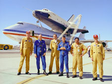 Flight crewmembers of Enterprise and the host NASA 747 Shuttle Carrier Aircraft include, from left, Fitz Fulton, Gordon Fullerton, Vic Horton, Fred Haise, Vincent Alvarez and Tom McMurtry.