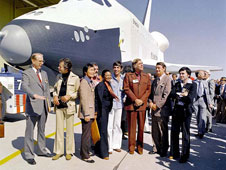 Science fiction met science fact when the crew of the starship Enterprise saw NASA's space shuttle prototype Enterprise.