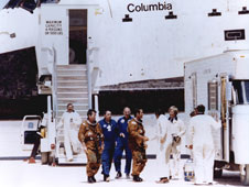 Astronauts John Young, left, and Robert Crippen are greeted at Edwards upon Columbia's return.