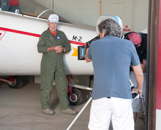 Famed U.S. Air Force test pilot Brig. Gen. Chuck Yeager shares recollections of flying the M2-F1 prototype lifting body for the camera during a brief visit to NASA's Dryden Flight Research Center Oct. 13.