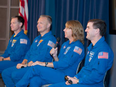 From left, STS-135 crewmembers Chris Ferguson (commander), Doug Hurley, Sandy Magnus and Rex Walheim share their experiences of the final shuttle mission with a Dryden audience.