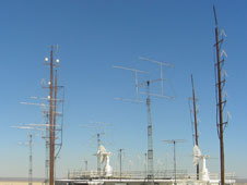 The Western Aeronautical Test Range communications facility is the location for these quad yagi antenna arrays and other equipment used to provide communications to the International Space Station.
