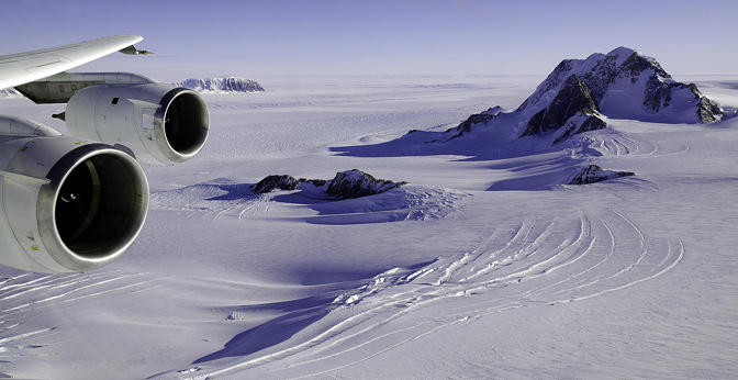 Glaciers and rock outcrops in Marie Byrd Land, West Antarctica