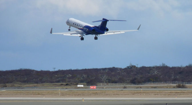 The Gulfstream-V operated by the National Science Foundation and National Center for Atmospheric Research departs Punta Arenas, Chile, for its fourth science flight in the Fall 2011 IceBridge campaign.