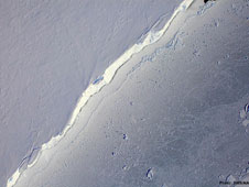 The Digital Mapping System aboard NASA's DC-8 flying laboratory captured this image of the Getz Ice Shelf in Antarctica on Monday, Oct. 17, 2011.