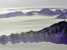 Shackleton Range cast shadows onto Antarctica's ice in this view captured from NASA's DC-8 flying laboratory.