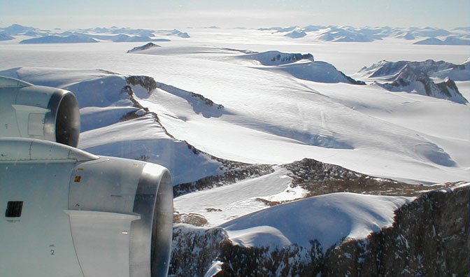 Some spectacular scenery was in view from NASA's DC-8 flying laboratory as it flew a low-level data collection flight over George VI Sound on the Antarctic Peninsula on Nov. 16.