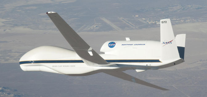 NASAs Global Hawk remotely operated aircraft No. 872 banks right over Edwards Air Force Base during a checkout flight.