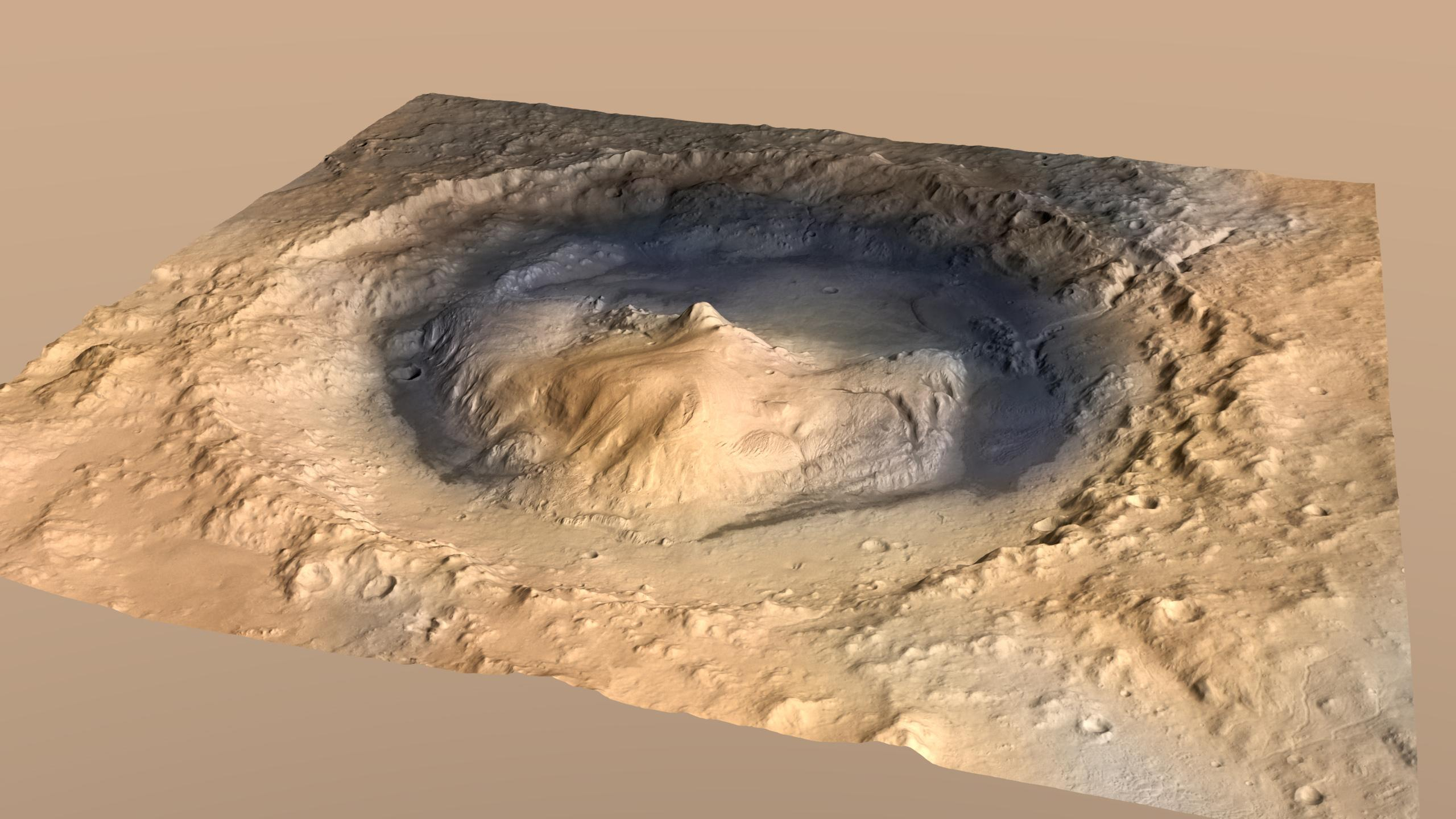 Oblique View of Gale Crater, Mars, with Vertical ...