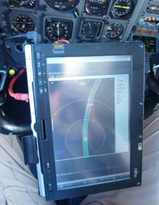 This is a pilots eye view of the display from the Airborne Topographic Mapper developed by NASAs Wallops Flight Facility that allowed the DC-8 pilots to fly the exact route flown previously in earlier IceBridge missions.