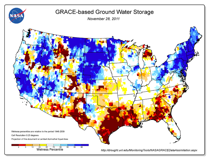 GRACE groundwater map of continental U.S.