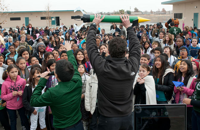 Representatives of Cal Poly Pomona wowed hundreds of students as they displayed their student-built rocket during the STEM education event Dec.13 at Discovery STEM Academy in Lancaster.