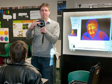 AERO Institute education specialist Shaun Smith demonstrated infrared imagery with students able to view their infrared signature on a video monitor.