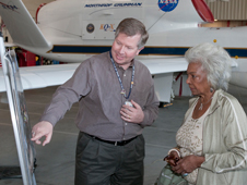 Global Hawk project manager Chris Naftel outlines details of science missions to Star Trek TV series actress Nichelle Nichols.